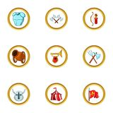 Medieval tactic icon set, cartoon style Royalty Free Stock Images