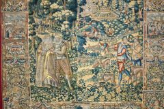 Medieval tapestry in the Benedictine abbey royalty free stock image