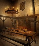 Medieval tavern 1. Medieval tavern room with a table Royalty Free Stock Image