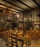 Medieval tavern 2. Medieval tavern chamber with tables and candles Royalty Free Stock Photos