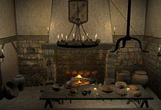 Medieval tavern. 3d render of a medieval tavern Royalty Free Stock Image
