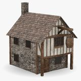 Medieval tavern. 3d render of medieval house - tavern Royalty Free Stock Photography