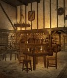 Medieval tavern 4. Medieval tavern with tables, candles, and barrels Royalty Free Stock Photography