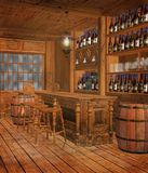 Medieval tavern 5. Fantasy medieval tavern chamber with bottles Royalty Free Stock Images