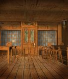 Medieval tavern 6. Medieval tavern chamber with tables and chairs Stock Images