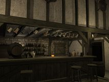 Medieval Tavern. 3 D Render of an Medieval Tavern Stock Photography