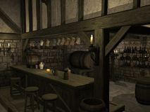 Medieval Tavern. 3 D Render of an Medieval Tavern Stock Image