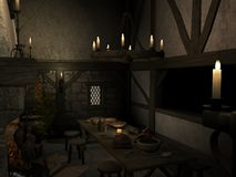 Medieval Tavern. 3 D Render of an Medieval Tavern Stock Images