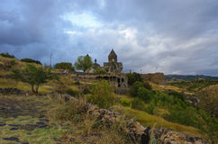 Medieval Tegher monastery complex, on the slope of Aragats mount Stock Images