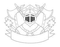 Medieval templar knight armor set. Contour Stock Images