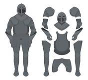 Medieval templar knight armor set. Contour Royalty Free Stock Photo