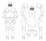 Medieval templar knight armor set. Contour Royalty Free Stock Photography