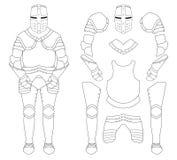 Medieval templar knight armor set.  Stock Photos