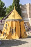medieval tent of different colors with coats of arms and blazons Royalty Free Stock Photography