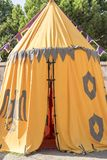 medieval tent of different colors with coats of arms and blazons Stock Image