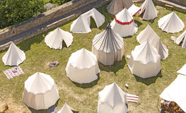 Medieval tent settlement reconstruction. Stock Image