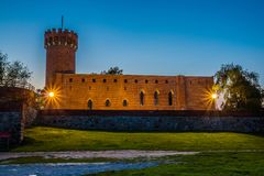Medieval Teutonic castle in Swiecie at night. Poland Stock Photo