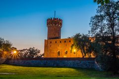 Medieval Teutonic castle in Swiecie at night. Poland Stock Photography