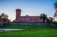 Medieval Teutonic castle in Swiecie at night. Poland Stock Images