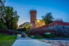 Medieval Teutonic castle in Swiecie at night. Poland Royalty Free Stock Photo