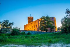 Medieval Teutonic castle in Swiecie at night. Poland Stock Image