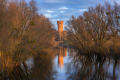 Medieval Teutonic Castle in Swiecie reflected in Wda river. Poland Royalty Free Stock Image