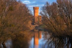 Medieval Teutonic Castle in Swiecie reflected in Wda river. Poland Stock Photo