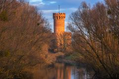 Medieval Teutonic Castle in Swiecie reflected in Wda river. Poland Royalty Free Stock Images