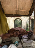 Medieval Textile Stall Stock Image