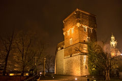 Medieval Thieves tower in Wawel at night. Krakow. Poland. Stock Photos
