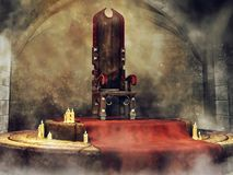 Medieval throne and candles. Medieval throne on a stone floor with a red carpet and candles in a fantasy castle royalty free illustration
