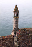 Medieval tile roof with turret , Chateau de Chillon, Switzerland Stock Photos