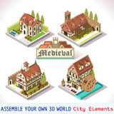 Medieval 01 Tiles Isometric. Medieval Tiles for Online Strategic Game Insight and Development. Isometric Flat Middle Age Court with 3D Buildings and Mill Royalty Free Stock Photo