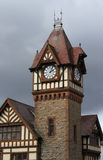 Medieval Timber Frame Detail and clock tower Stock Photo