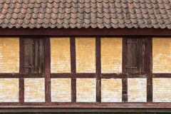 Medieval timbered yellow  brown house Stock Image