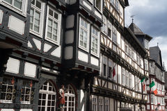 Medieval timberframe houses at the historic centre of Marburg Stock Photo