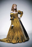 Medieval times lady. Posing in amazing dress