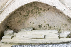 Medieval tombstone sculpture Stock Photos