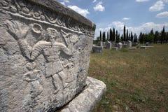 Medieval tombstones in Herzegovina. Medieval Bogomil tombstones in Herzegovina detail stock photography