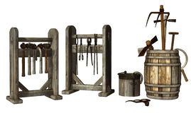 Medieval tool racks Stock Photos
