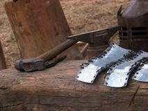 Medieval tools. Medieval blacksmith tools, in Oradea fortress Royalty Free Stock Photography