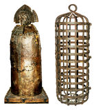 Medieval torture equipment. Iron maiden and cage as used in medieval times as a means of torture Stock Photography