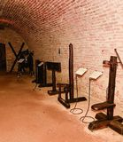 Medieval Torture. Inquisition torture chamber. Old medieval torture chamber with many pain tools. Medieval Torture. Inquisition torture chamber. Old medieval Royalty Free Stock Photo
