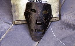 Medieval torture masks. Medieval instrument of torture, detail of torture in the inquisition stock images