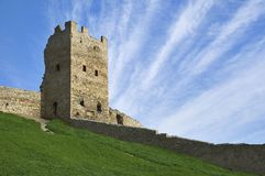 Medieval tower. Built by the genoeses in Theodosia, Ukraine (with copyspace stock image