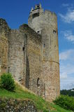 Medieval tower against blue sky. Najac medieval tower against blue sky in perigord in france Royalty Free Stock Images