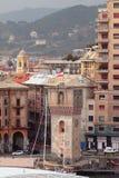 Medieval tower and city. Savona, Italy Stock Photos