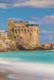 Medieval tower on the coast of Maiori town, Amalfi coast, Campania region, Italy Royalty Free Stock Photos