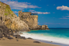 Medieval tower on the coast of Maiori town, Amalfi coast, Campania region, Italy Royalty Free Stock Photography