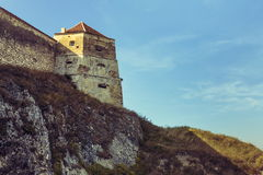 Medieval tower and defence walls of Rasnov citadel stock images